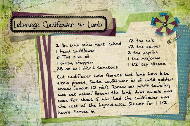Lebanese cauliflower and lamb
